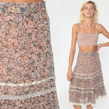 Floral Midi Skirt 70s Boho High Waisted Pink Prairie Skirt LACE TRIM 1970s Bohemian Hippie Festival Vintage Cottagecore Extra Small xs by ShopExile