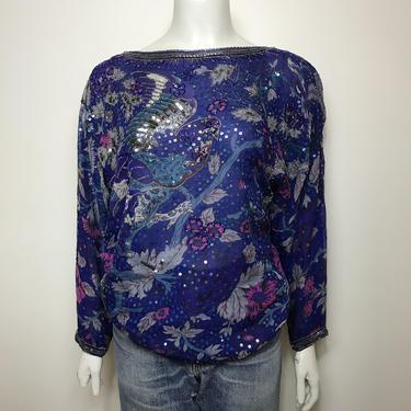 Vtg 70s 80s Judith Ann silk bird sequin dress top blouse by AnimalVintageMiami