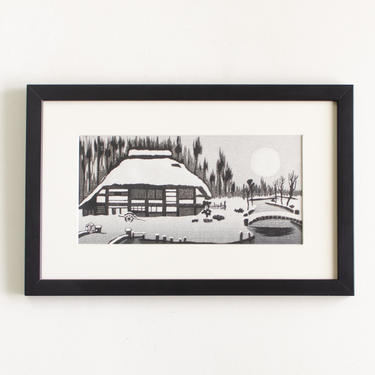 """Vintage Original Artwork Stamped by Artist Gihachiro Okuyama Framed Mid Century Original Japanese Woodblock Print Titled """"Snow Country"""" by HouseofSeance"""