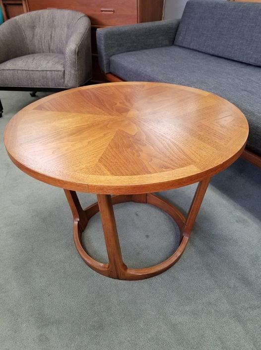 Mid Century Modern Round Walnut Side Table By Lane