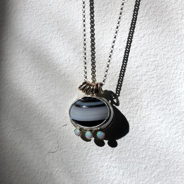Banded Agate and Opal One of a Kind Pendant by RachelPfefferDesigns