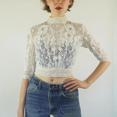 ON SALE 1900s Edwardian Irish crochet Antique lace Wedding Floral Knit Boho White Victorian Top blouse  XS S M by prismavintageatx