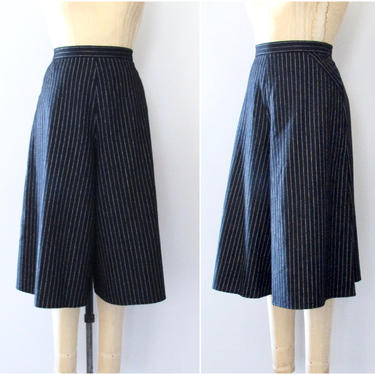 THE RIGHT STRIPE Vintage 70s Culottes | 1970s Black w/ White Chalk Stripe, Wool Blend Suiting Crop Pants | Wide Leg High Waist | Size Medium by lovestreetsf