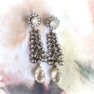 Vintage Chandelier Diamond Earrings Estate 1990's 11.91ct t.w. Rose Cut Briolettes Drop Antique Wedding Earrings 18k Gold Sterling Silver by YourJewelryFinder