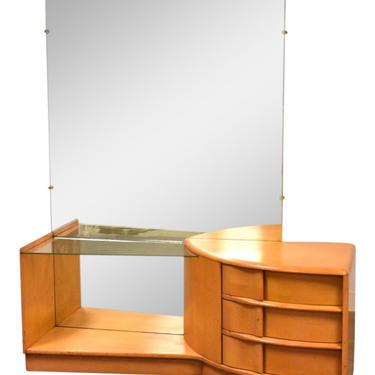 Heywood Wakefield Sculptura Solid Vanity & Mirror by mixedmodern1