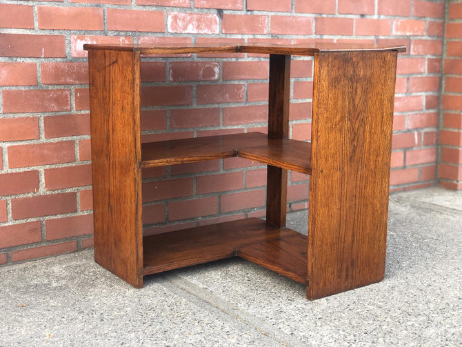 Free and Insured Shipping Within US - Vintage Mid Century Modern Solid Wood Book Case Stand Cabinet Storage by BigWhaleConsignment