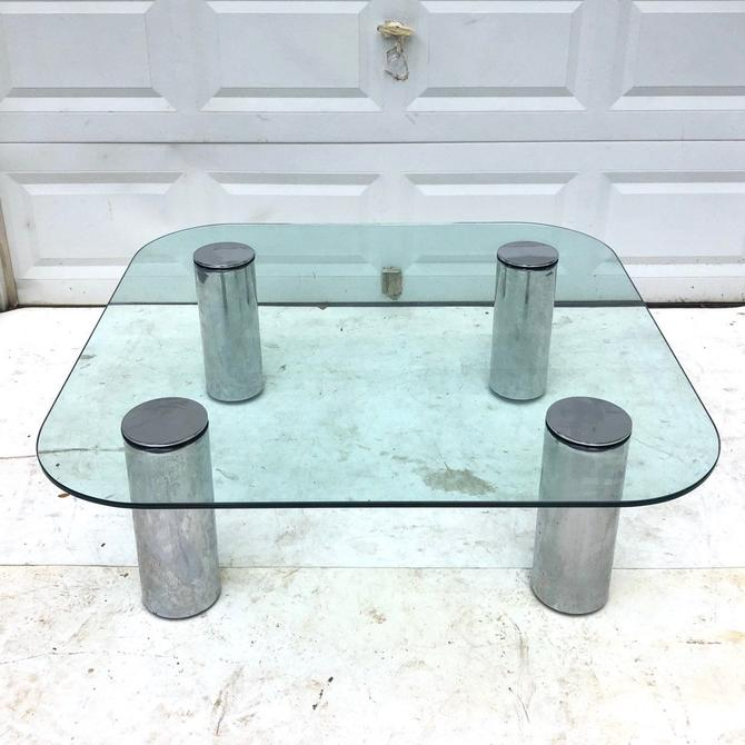 Mid-Century Chrome and Glass Coffee Table attributed to Pace Collection by secondhandstory
