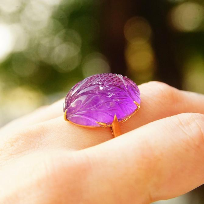 Vintage 14k Rose Gold Amethyst Scarab Ring, Beautiful Hand Carved Amethyst Stone, Large Rose Gold Gemstone Ring,  Size 9 1/2 US by shopGoodsVintage