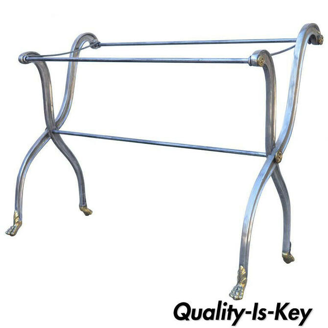 Steel & Bronze French Neoclassical Style Paw Foot Towel Rack after Maison Jansen