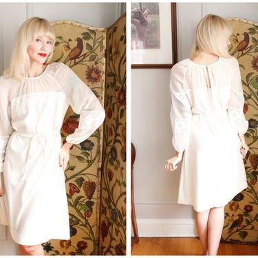 1970s Dress // Ivory Day Dress // vintage 70s dress by dethrosevintage