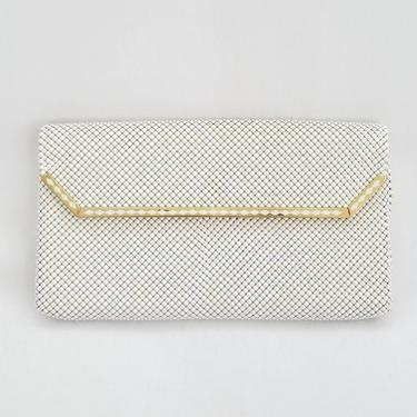 1960s White Mesh Whiting & Davis Envelope Clutch ~ Metallic White Handbag ~ Flat Slim Line Special Occasion Evening Bag by SoughtClothier