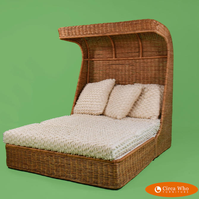 Woven Rattan Hooded Daybed