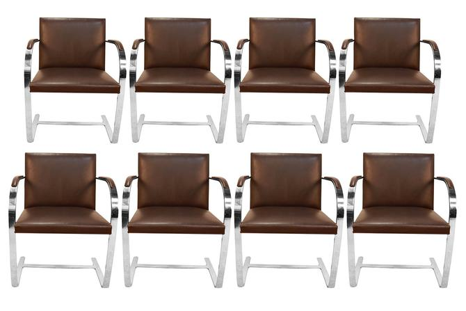 Eight Brueton Leather Bruno Flat Bar Chrome Armchairs Style of Mies Van Der Rohe by Marykaysfurniture