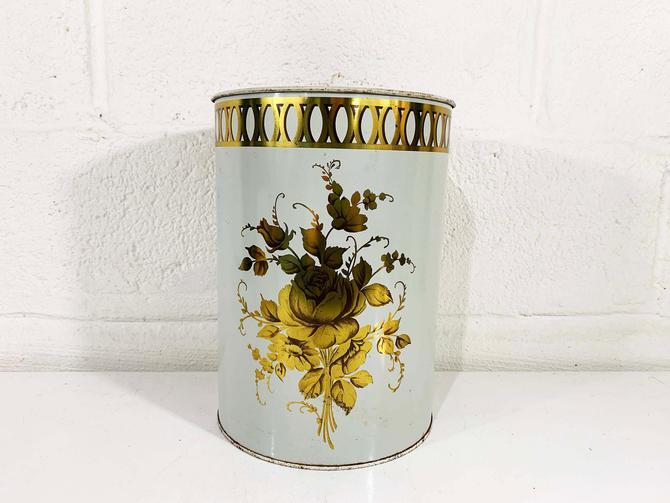 Vintage Decoware White Metallic Gold Floral Metal Waste Basket Trash Can Rose 1950s Tin Litho MCM Flowers Boho Indie Romantic Regencycore by CheckEngineVintage