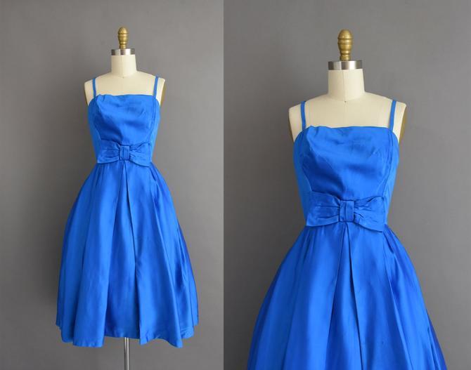 vintage 1950s dress | Gorgeous Royal Blue Satin Cocktail Party Dress | XS | 50s vintage dress by simplicityisbliss