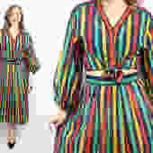 Vintage 90's YSL Dress and Blouse Set / 1990's Yves Saint Laurent Rive Guache Striped Set / Summer / Designer / Women's Size Medium by RubyThreadsVintage