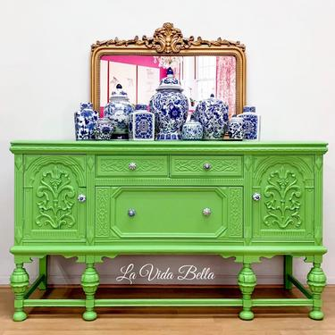 Stunning Hand Painted Buffet, Sideboard, Server, Console, Antiques, Hand Painted. by LaVidaBellaDesign