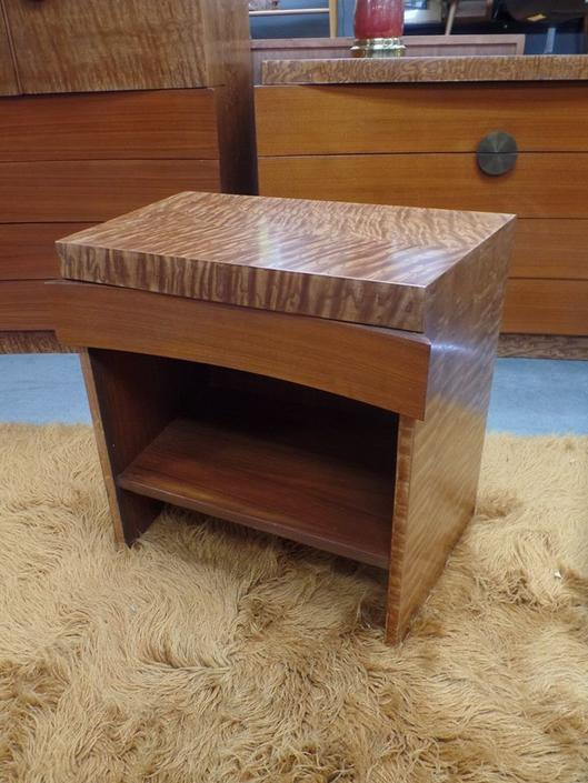Mid-Century Modern burlwood nightstand