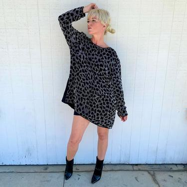 Vintage Animal Print Sequin Mini Dress Long Sleeve Oversized Top 80s Party 1980s Clothing by LoveItShop
