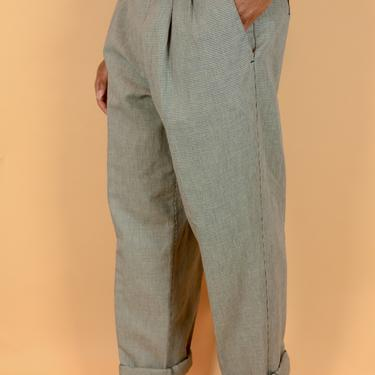 Vintage Grey Houndstooth Cotton Linen Pleated Trousers Pants 34x32 by MAWSUPPLY