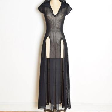 vintage 90s dress sheer black mesh hooded raver cyber punk goth long maxi S M club clothing by huncamuncavintage