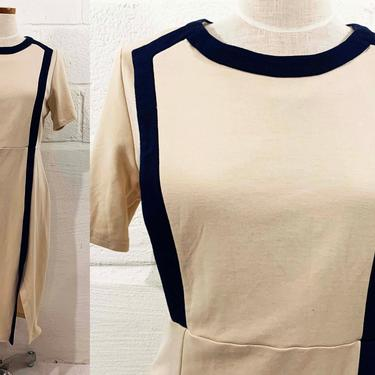 True Vintage Navy Beige Colorblock Dress Blue White Short Sleeve Shift Sheath Professional Minimal Minimalist MCM Mod Medium Large by CheckEngineVintage