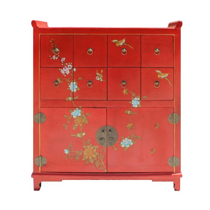 Chinese Red Veneer Print Graphic Side Table Drawers Cabinet cs5122S