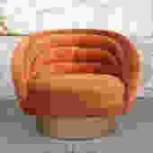 Custom Swivel Club Chair in Orange Velvet