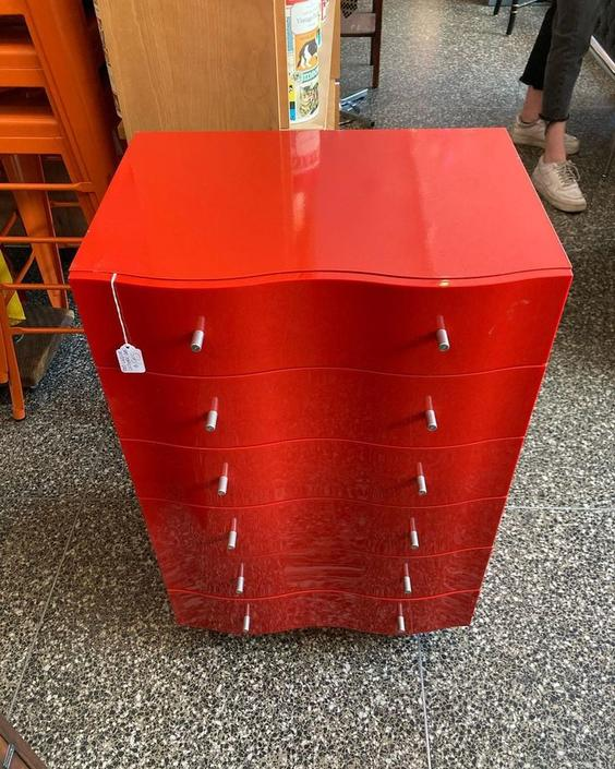 """RED lacquer lingerie chest. 21.5"""" x 15.5"""" x 33.5"""""""