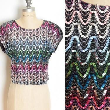 vintage 70s top black metallic sequin gradient disco colorful shirt blouse M clothing by huncamuncavintage