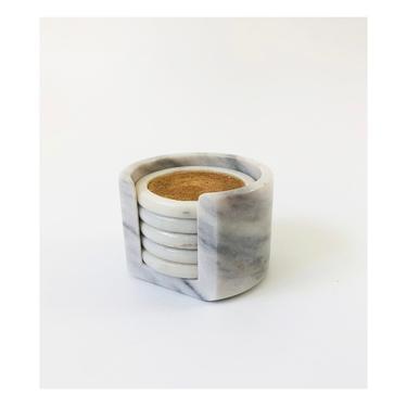 Vintage Marble Coaster Set / Set of 5 Coasters in Holder by SergeantSailor