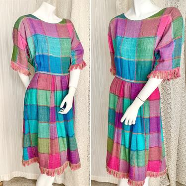 Bright Plaid Color Block Dress, Woven Fabric, Fringe, Pink Purple Teal, Pockets, Fits L-XL by GabAboutVintage