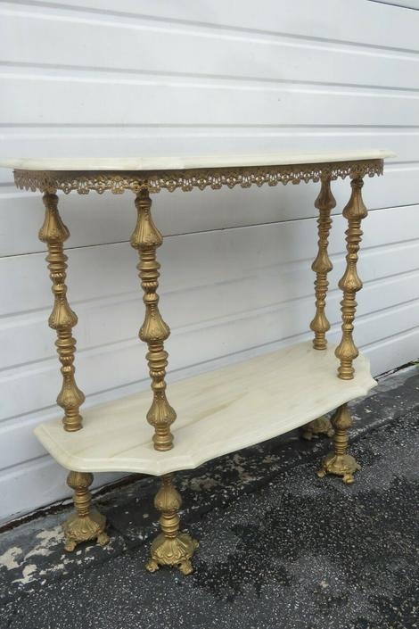 French Two Tiers Marbleized Top Console Table 1662