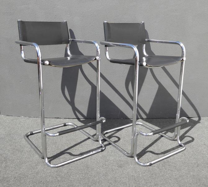 Pair Vintage Contemporary Modern Chrome & Black Leather BAR STOOLS Barstools by VintageLAfurniture