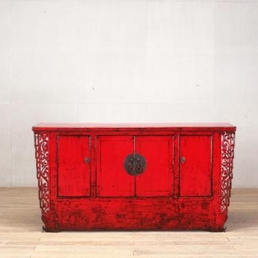 Chinese Red-Lacquered Cabinet with Four Doors and Restoration