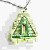 Egyptian Revival Pressed Glass Pendant on Chain by LegendaryBeast