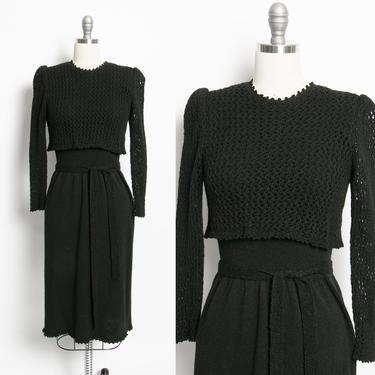 1980s Sweater Dress Black Wool Knit Small by dejavintageboutique