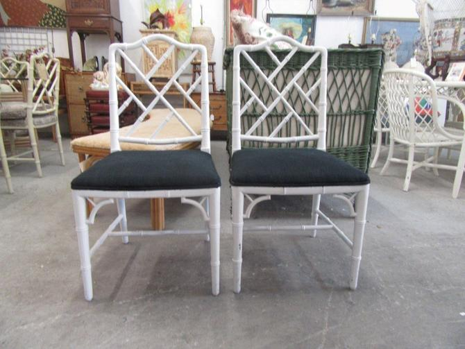 Faux Bamboo Chippendale Side Chairs