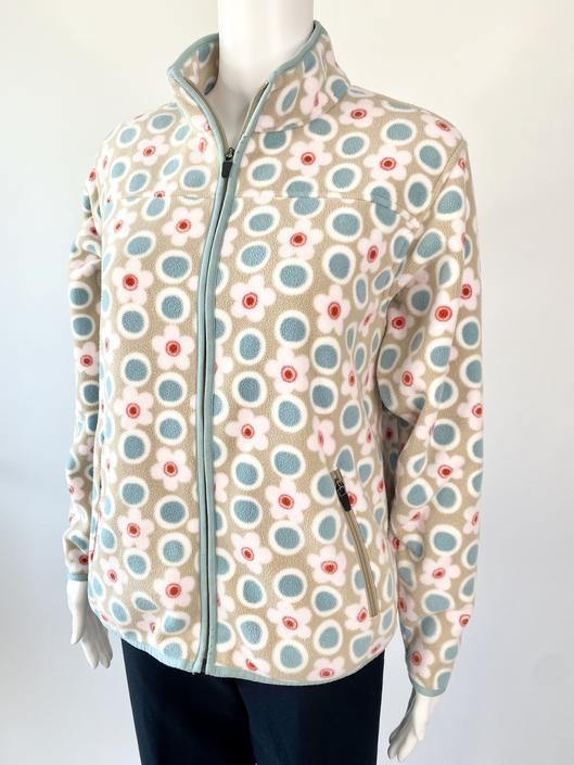 Flower Print Fleece Zip Up Jacket!