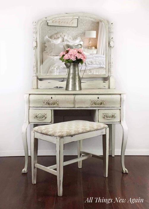Vintage Vanity with Mirror and Bench by AllThingsNewAgainVA