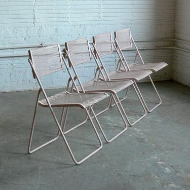 Vintage Wrought Iron Mesh Folding Chairs by Troy Sunshade Co.  (Set of 4) by CoMod