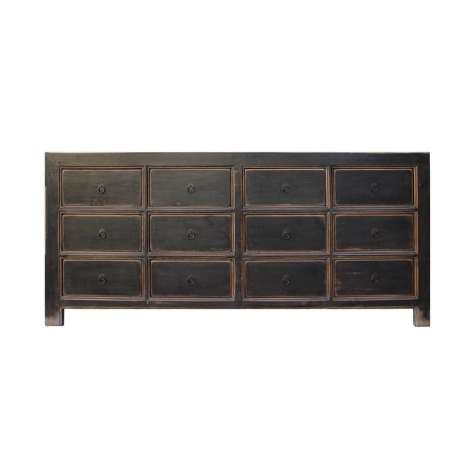 Oriental Black Lacquer 12 Drawers Console Sideboard Table Cabinet cs5363S