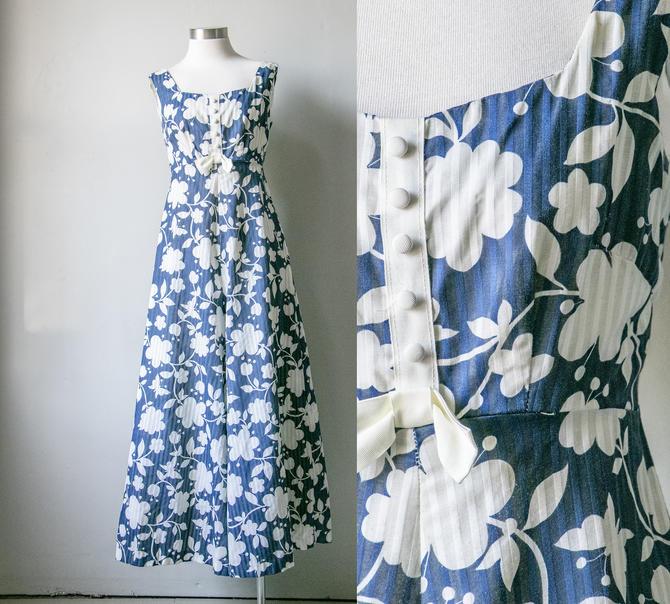 1970s Jumpsuit Cotton Floral Wide Leg M by dejavintageboutique