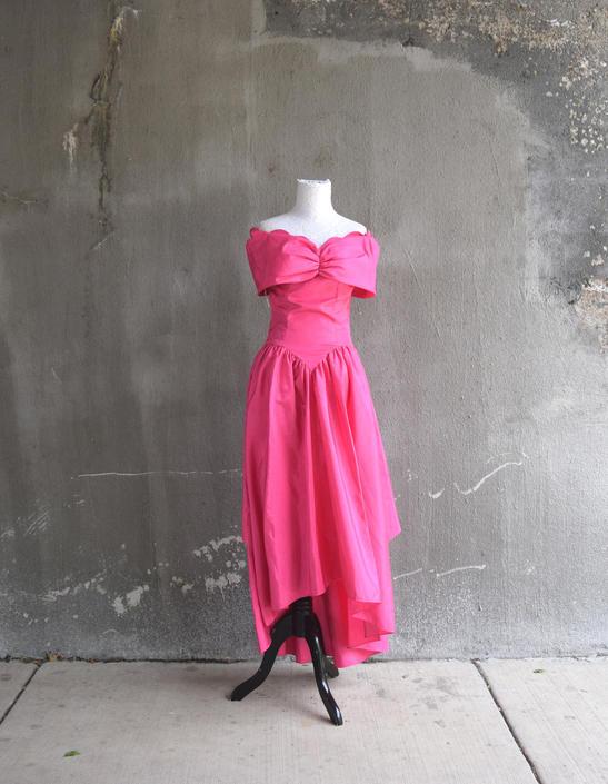 80s Prom Dress | Bright Pink Dress | Hi Low Dress | Princess ...