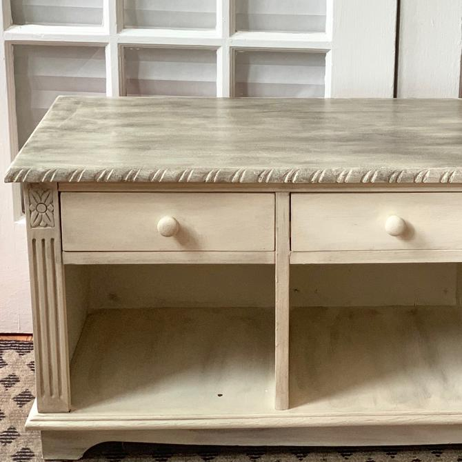 Hand painted rustic cream storage bench