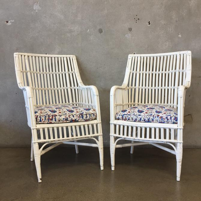 Pair of Vintage Rattan Arm Chairs