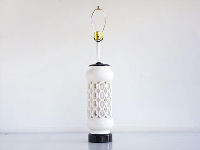 White Ceramic Hollywood Regency Table Lamp