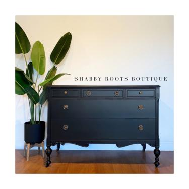 NEW! Matte Black Antique Dresser chest of drawers Gustavian modern farmhouse style - changing table San Francisco by ShabbyRootsBoutique