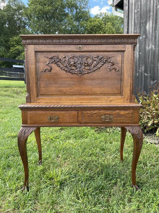 Antique Carved-Oak Secretary