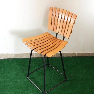 Arthur Umanoff Style Mid Century Wood and Metal  Stool by fingerlickingvintage